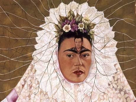 Frida Kahlo: Autoportrét jako Tehuana aneb Diego v mých myšlenkách, 1943 (zdroj: iDNES.cz)